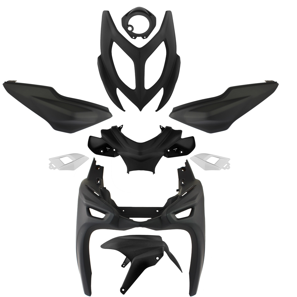 Kit carrosserie Aerox / Nitro 2013 9 pièces noir mat