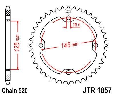 Couronne JT Sprockets Acier pas 520 47 dents - Pour Yamaha TT 600 E 96
