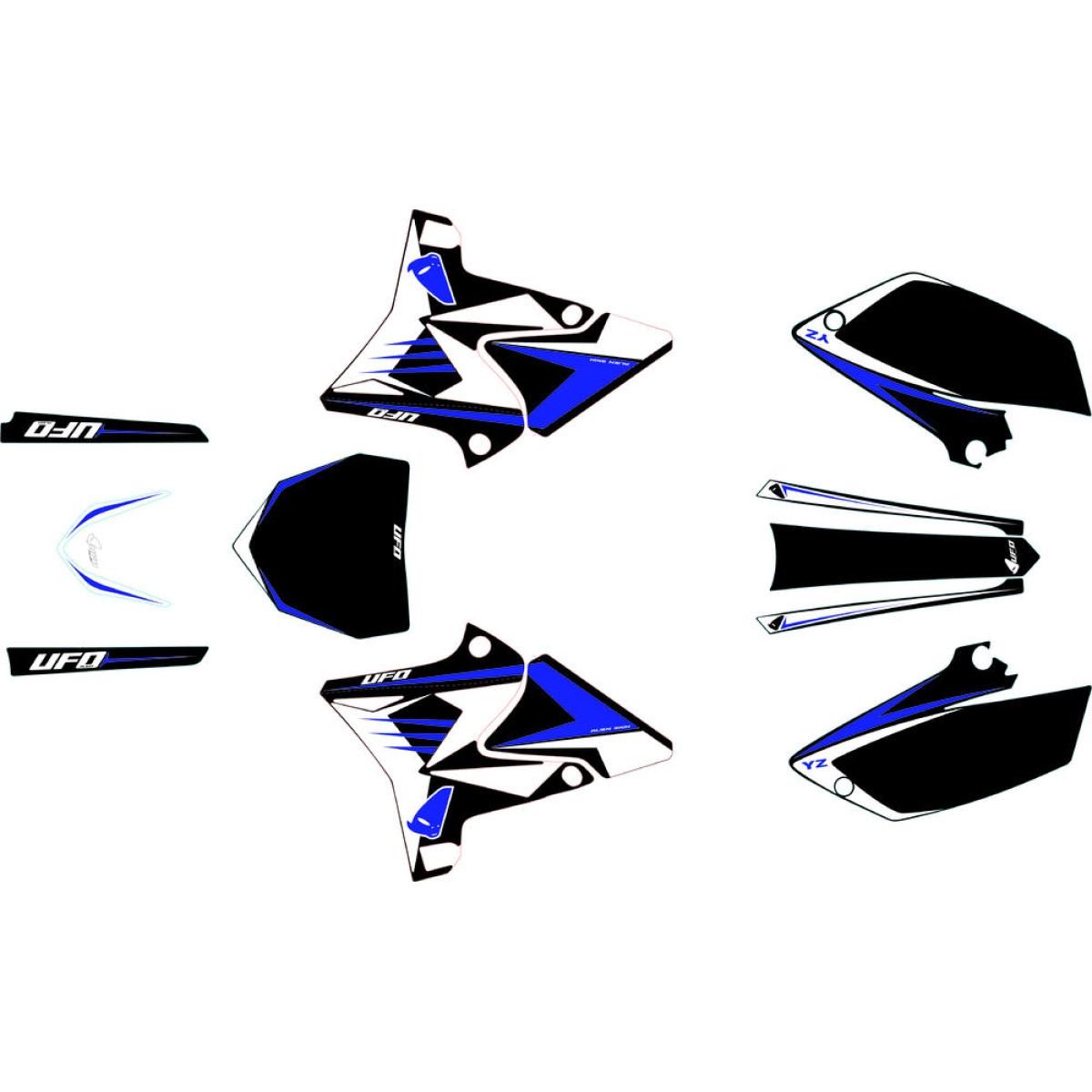 Kit déco UFO pour kit plastique restylé Yamaha 125 YZ 02-14 blanc/bleu