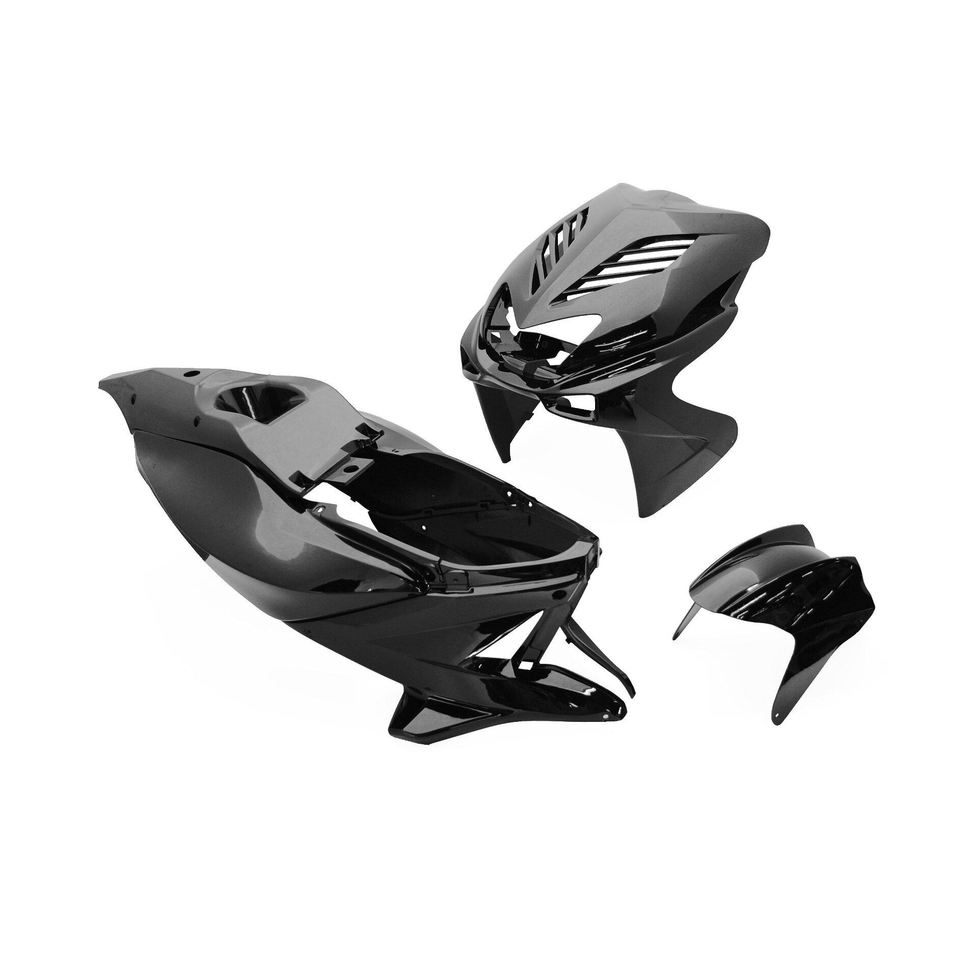 Kit carrosserie Replay design 8 pièces noir pour Nitro/Aerox